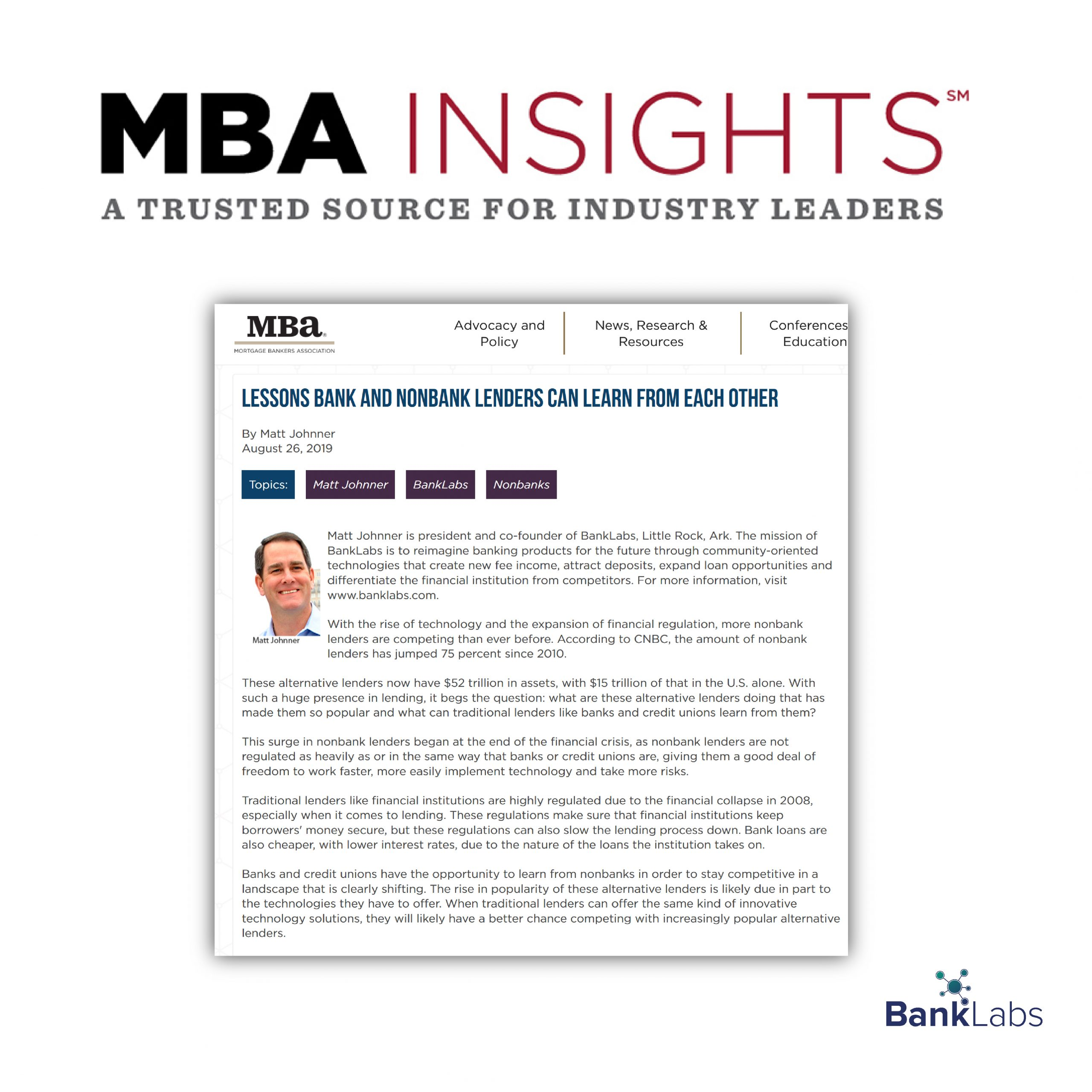 Lessons Bank and Nonbank Lenders can Learn From Each Other – Mortgage Bankers Association